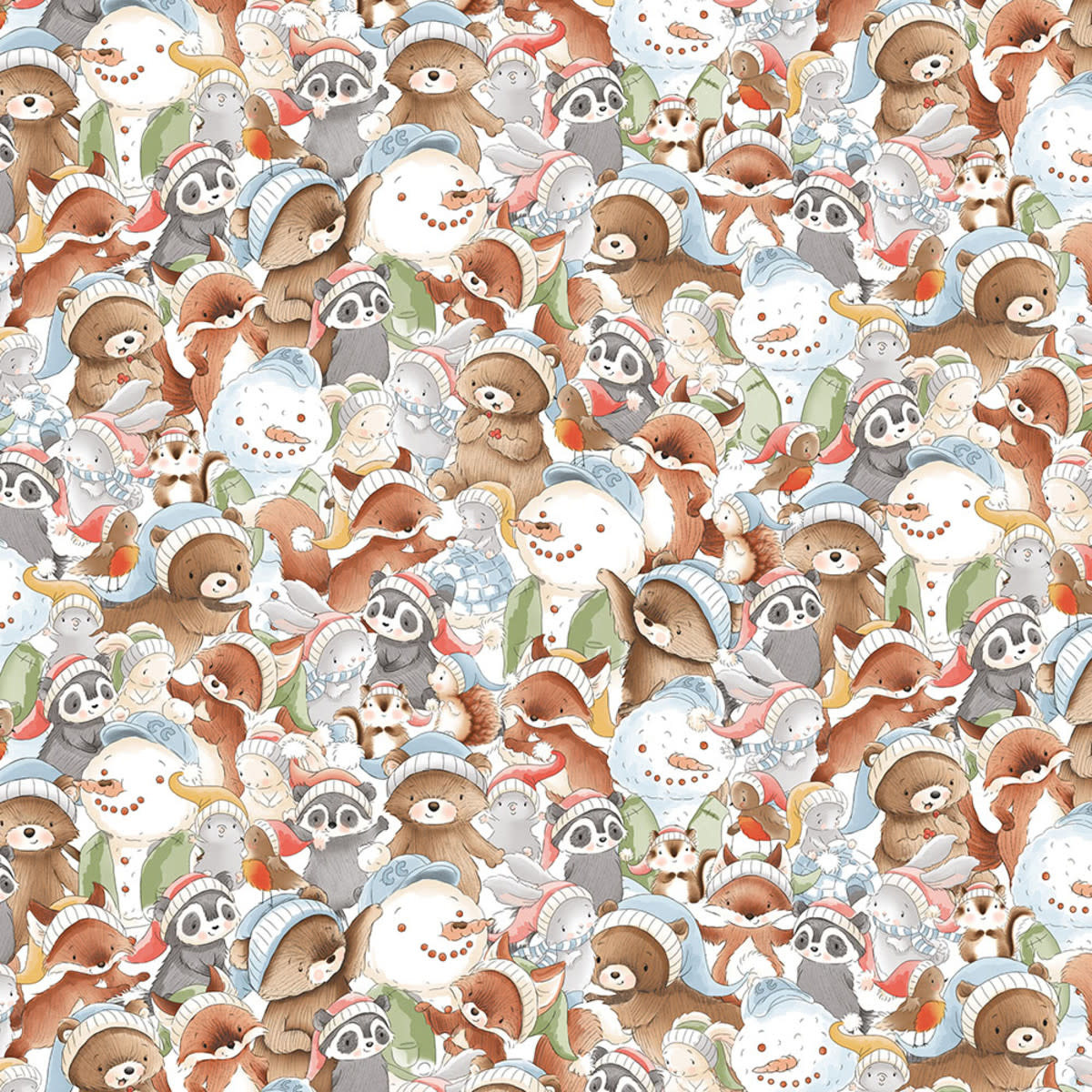 TIMELESS TREASURES SNOW DAY PACKED WINTER ANIMALS PER CM OR $20/M