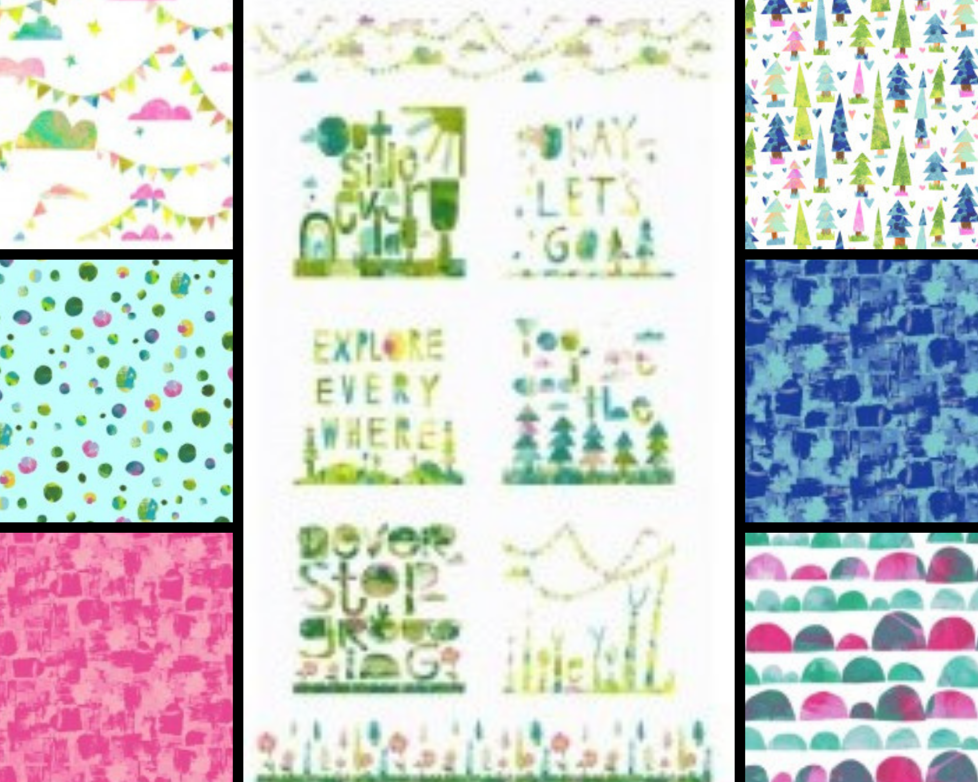 Clothworks YOU, ME AND THE TREES CURATED BUNDLE #1 - PANEL PLUS 6 HALF METRE CUTS