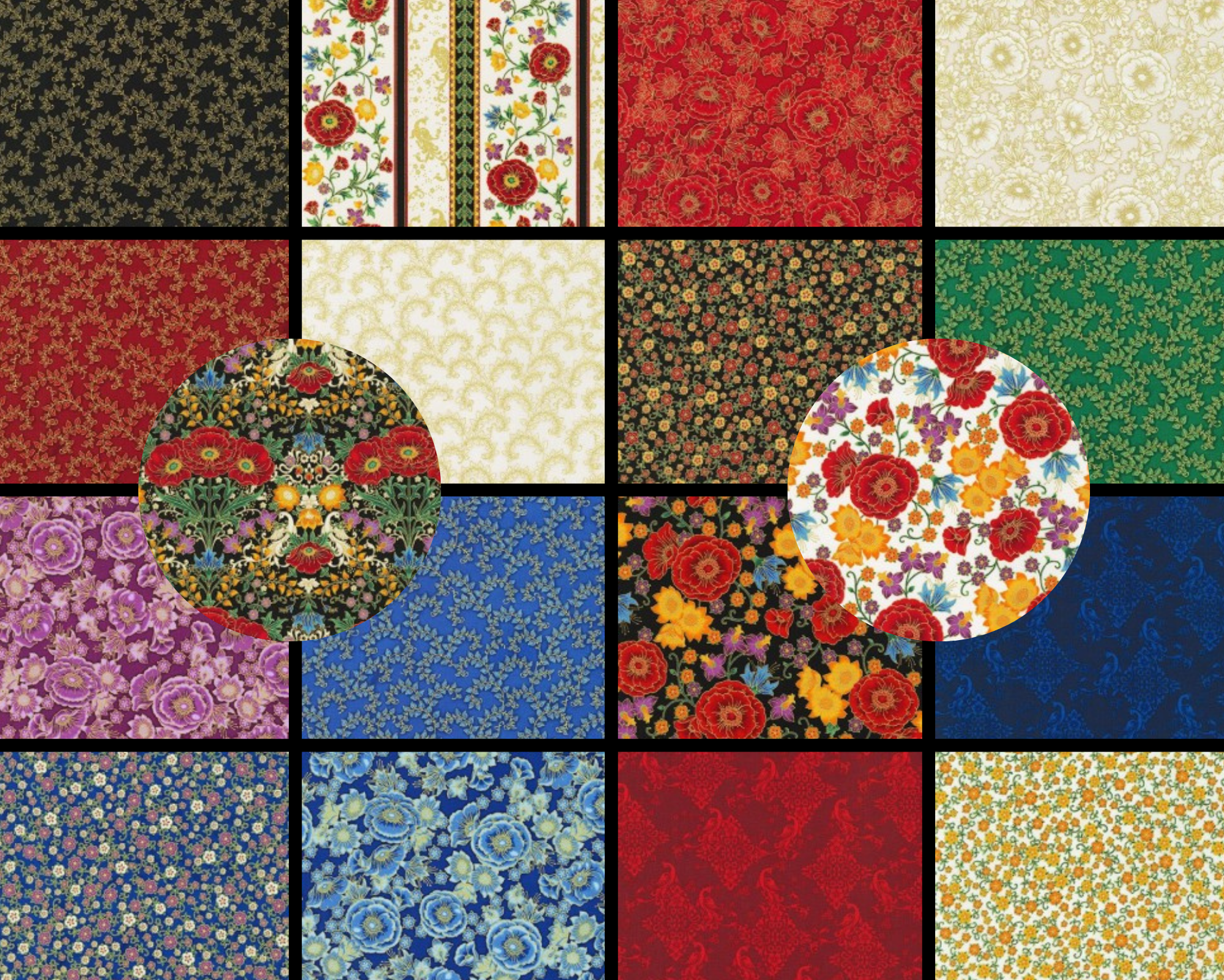 ROBERT KAUFMAN FLORENTINE GARDEN - FAT 1/4 BUNDLE - 18 PCS