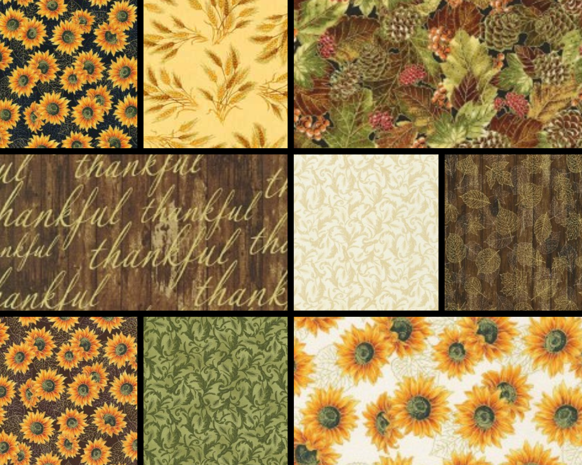 ROBERT KAUFMAN FAT QUARTER BUNDLE - AUTUMN BEAUTIES NUTMEG 9 PIECES
