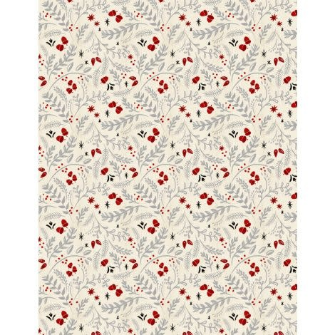 Janelle Penner Holiday in the Woods - Leaves & Acorns - Cream, per cm or $20/m