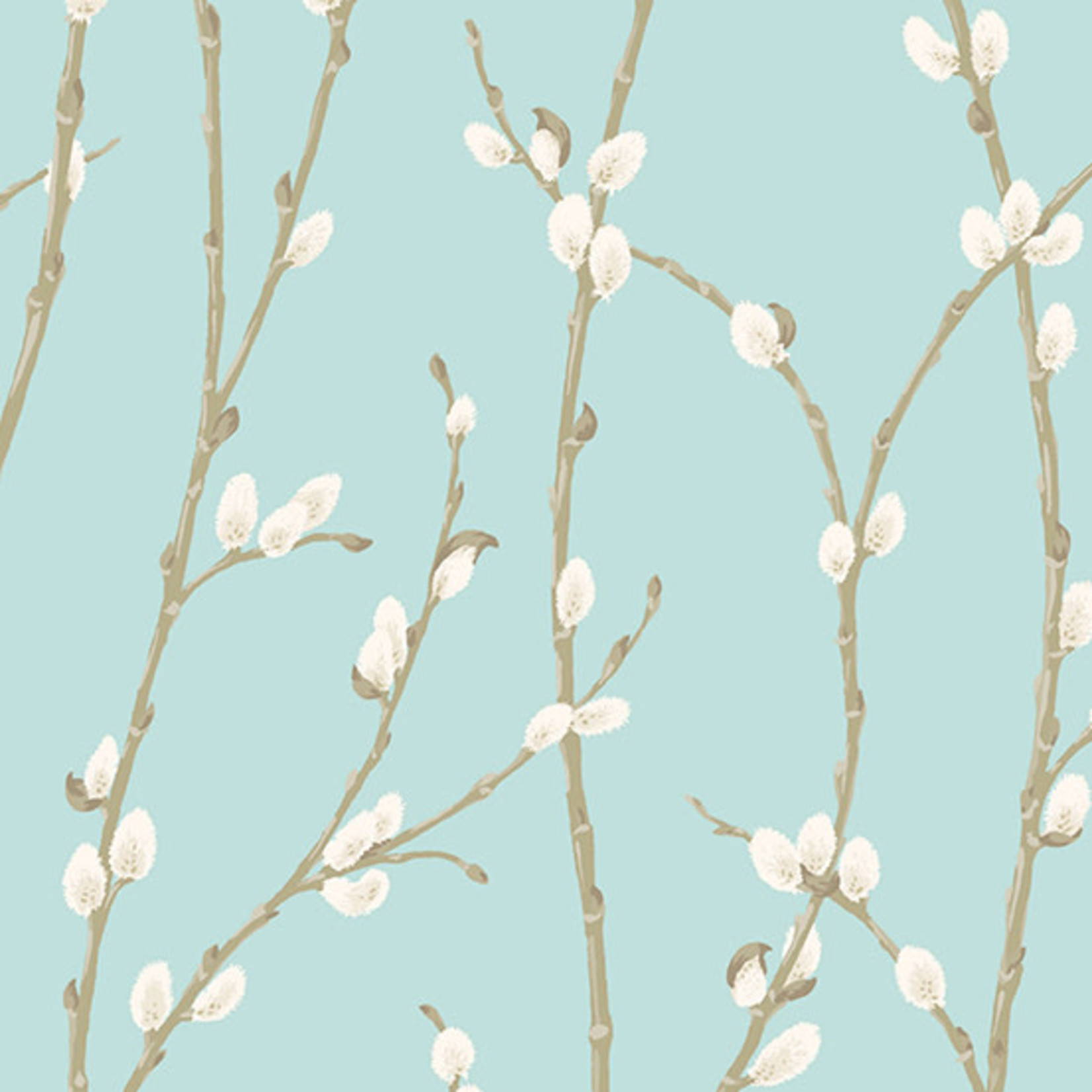 Andover WILLOW, PUSSY WILLOW, TEAL (9610-T) PER CM OR $20/M