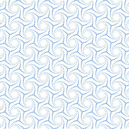 Blank Quilting Corp BLUE BAYOU, DOTTED SWIRL, WHITE (1142-07) PER CM OR $19/M