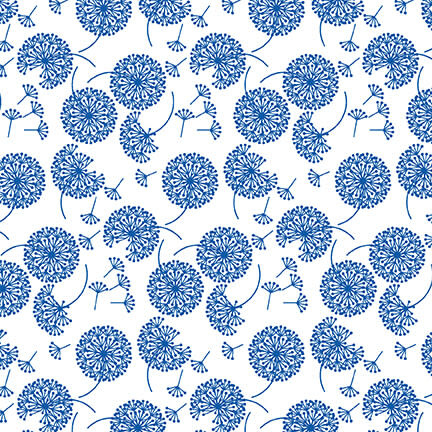 Blank Quilting Corp BLUE BAYOU, DANDELION, WHITE (1143-07) PER CM OR $19/M