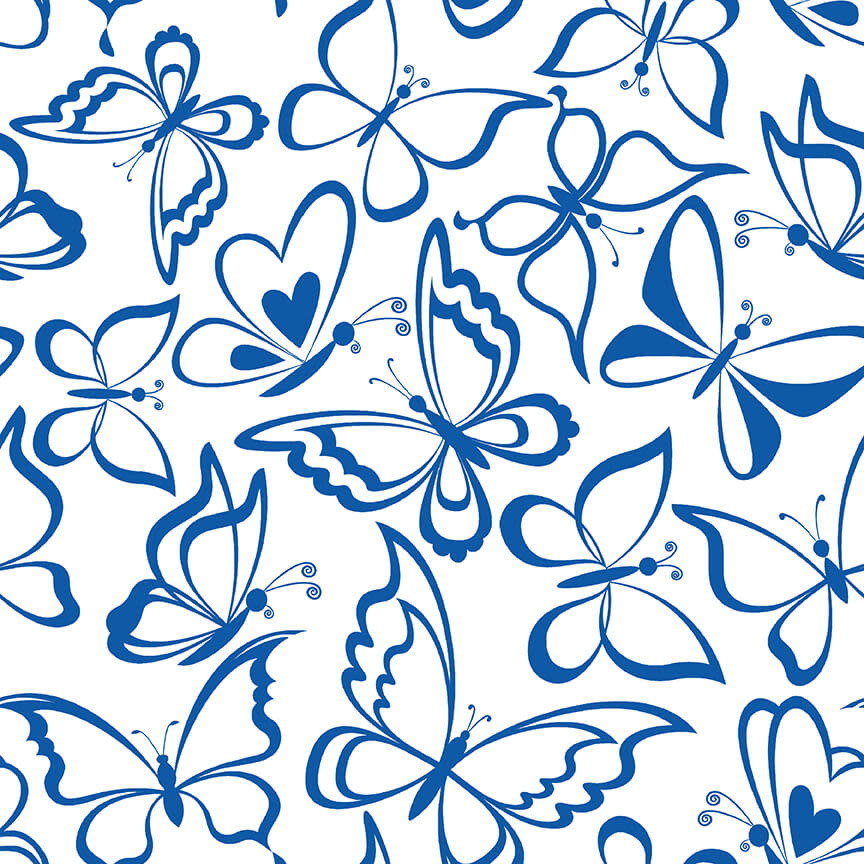 Blank Quilting Corp BLUE BAYOU, BUTTERFLY, WHITE (1146-07) PER CM OR $19/M
