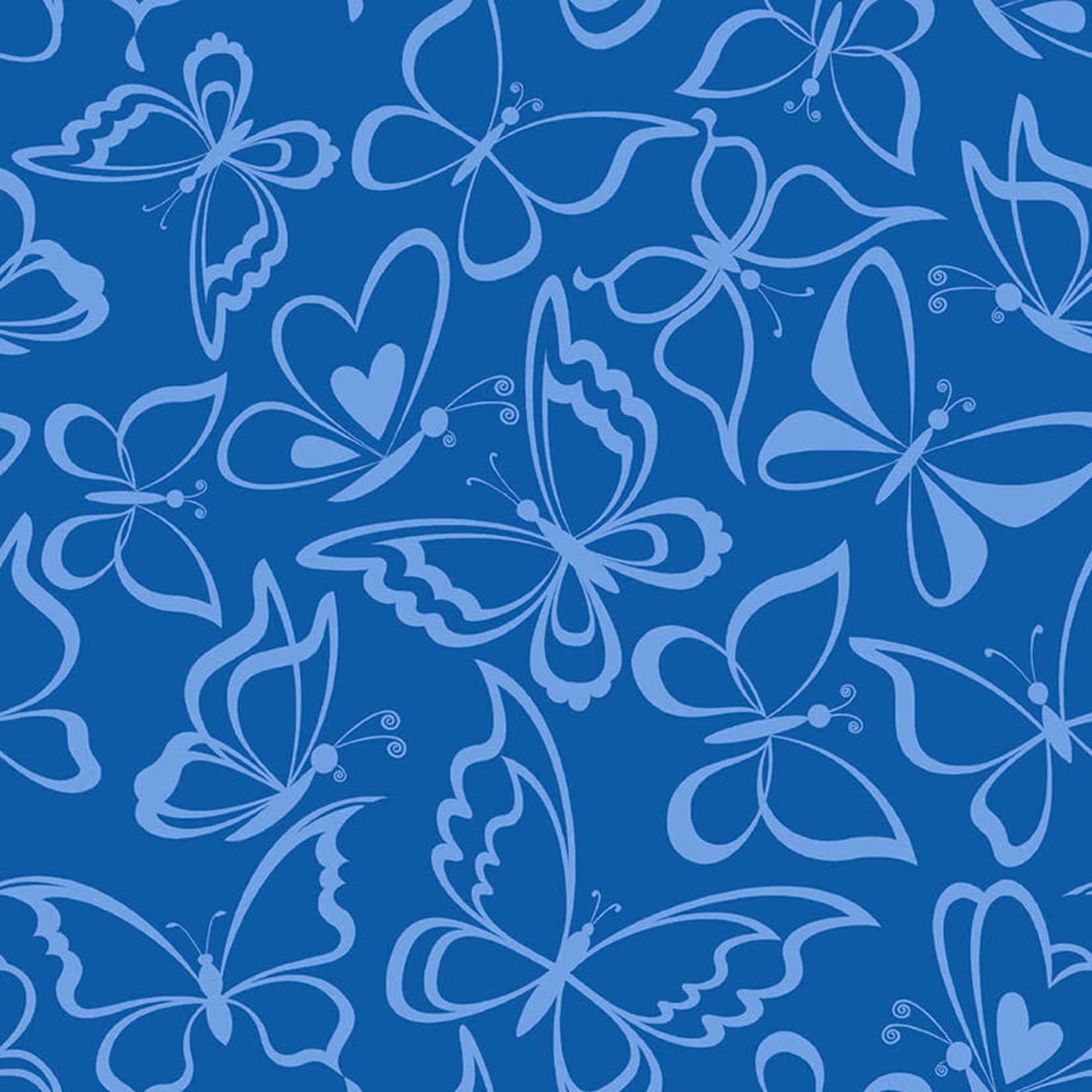 Blank Quilting Corp BLUE BAYOU, BUTTERFLY, NAVY (1146-77) PER CM OR $19/M