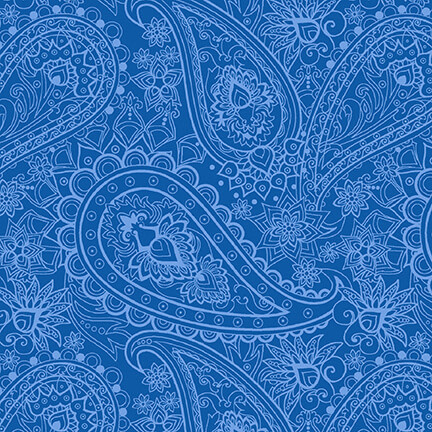 Blank Quilting Corp BLUE BAYOU, PAISLEY, NAVY (1147-77) PER CM OR $19/M
