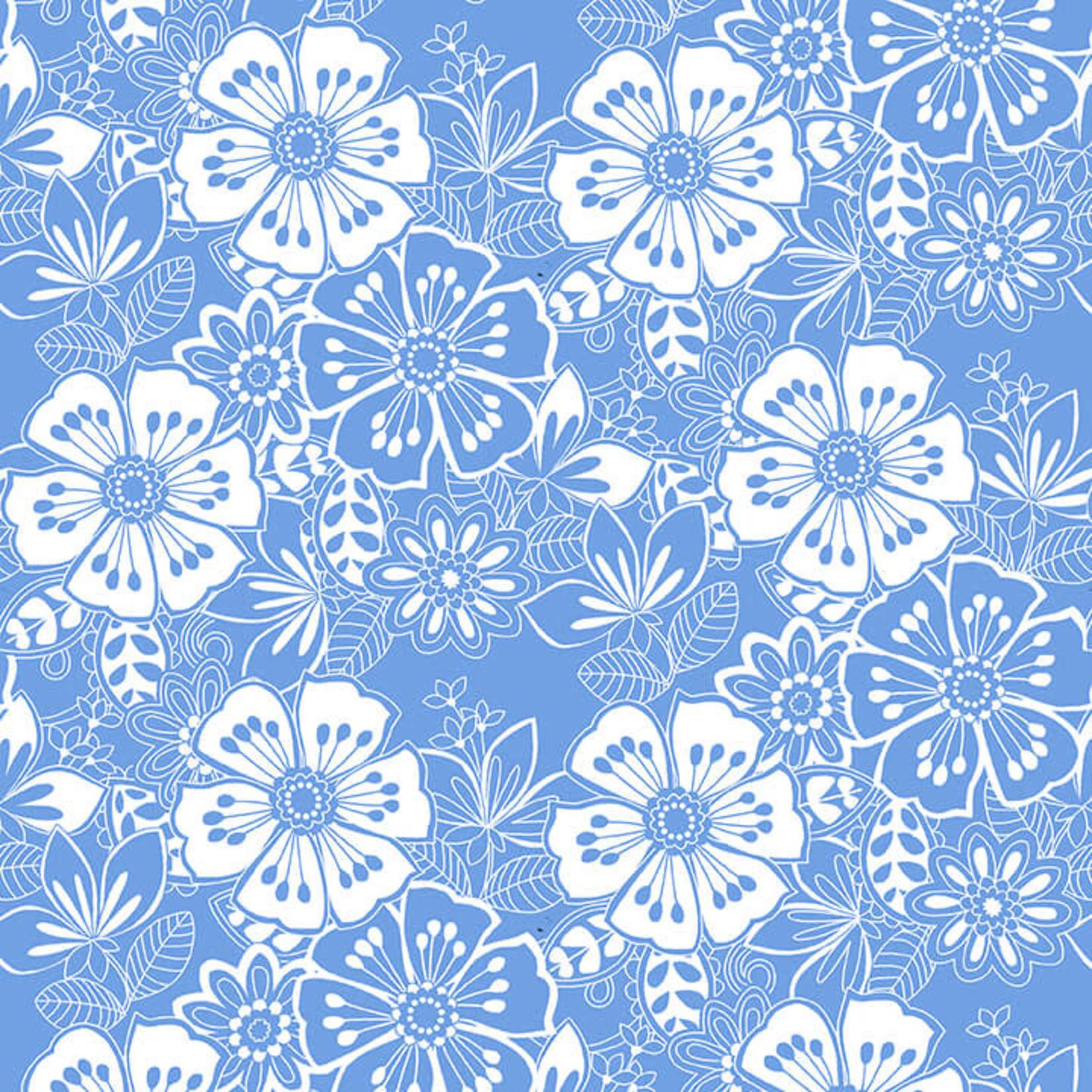 Blank Quilting Corp BLUE BAYOU, FLORAL, MEDIUM BLUE (1148-75) PER CM OR $19/M