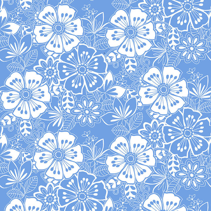 Blank Quilting Corp BLUE BAYOU, FLORAL, MEDIUM BLUE (1148-75) PER CM OR $19/M