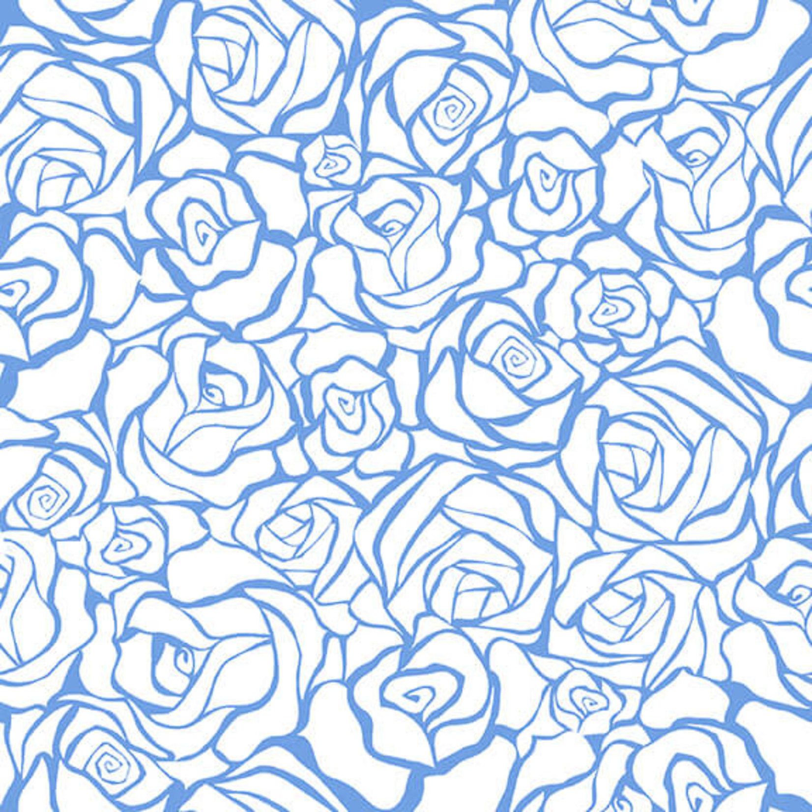 Blank Quilting Corp BLUE BAYOU, ROSES, WHITE (1149-07) PER CM OR $19/M