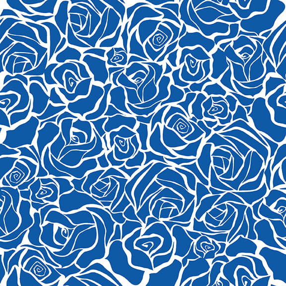 Blank Quilting Corp BLUE BAYOU, ROSES, NAVY (1149-77) PER CM OR $19/M