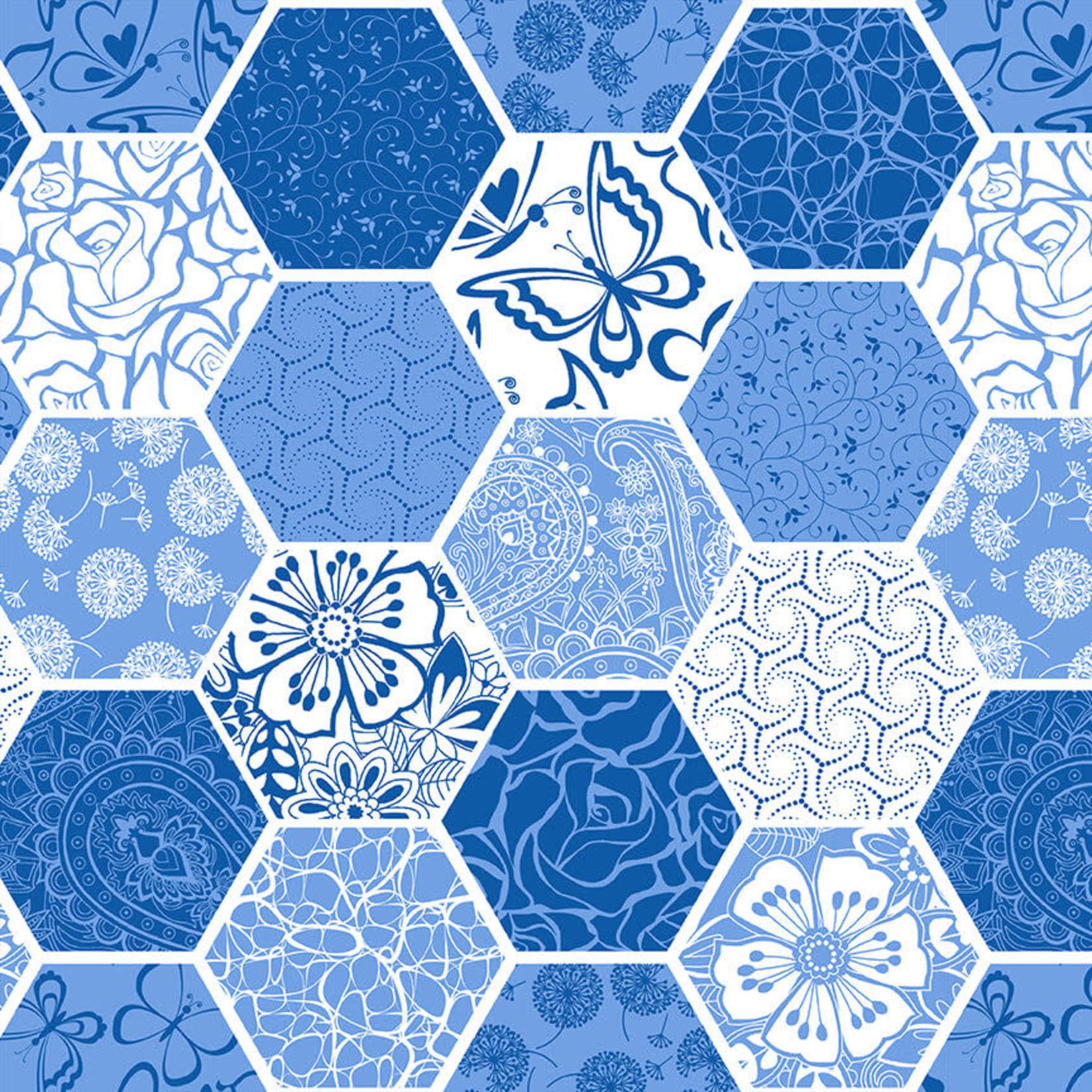 Blank Quilting Corp BLUE BAYOU, HEXIES, MEDIUM BLUE (1150-75) PER CM OR $19/M