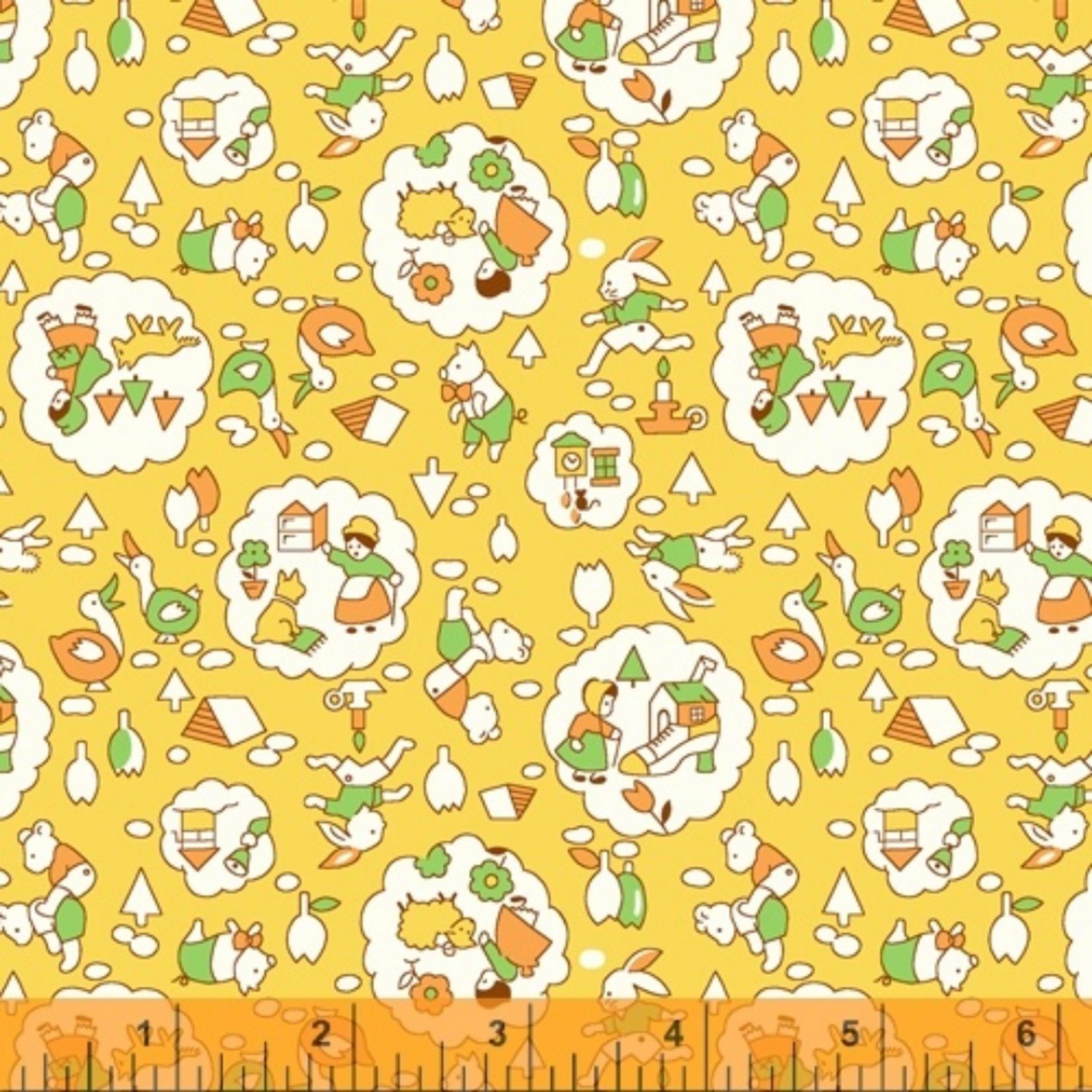 Windham Fabrics STORYBOOK, NURSERY, YELLOW (51978-4) PER CM OR $20/M