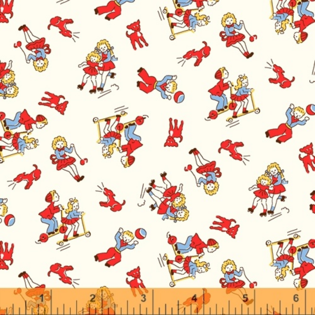 WINDHAM FABRICS STORYBOOK, KIDS AT PLAY, RED (51979-1) PER CM OR $20/M
