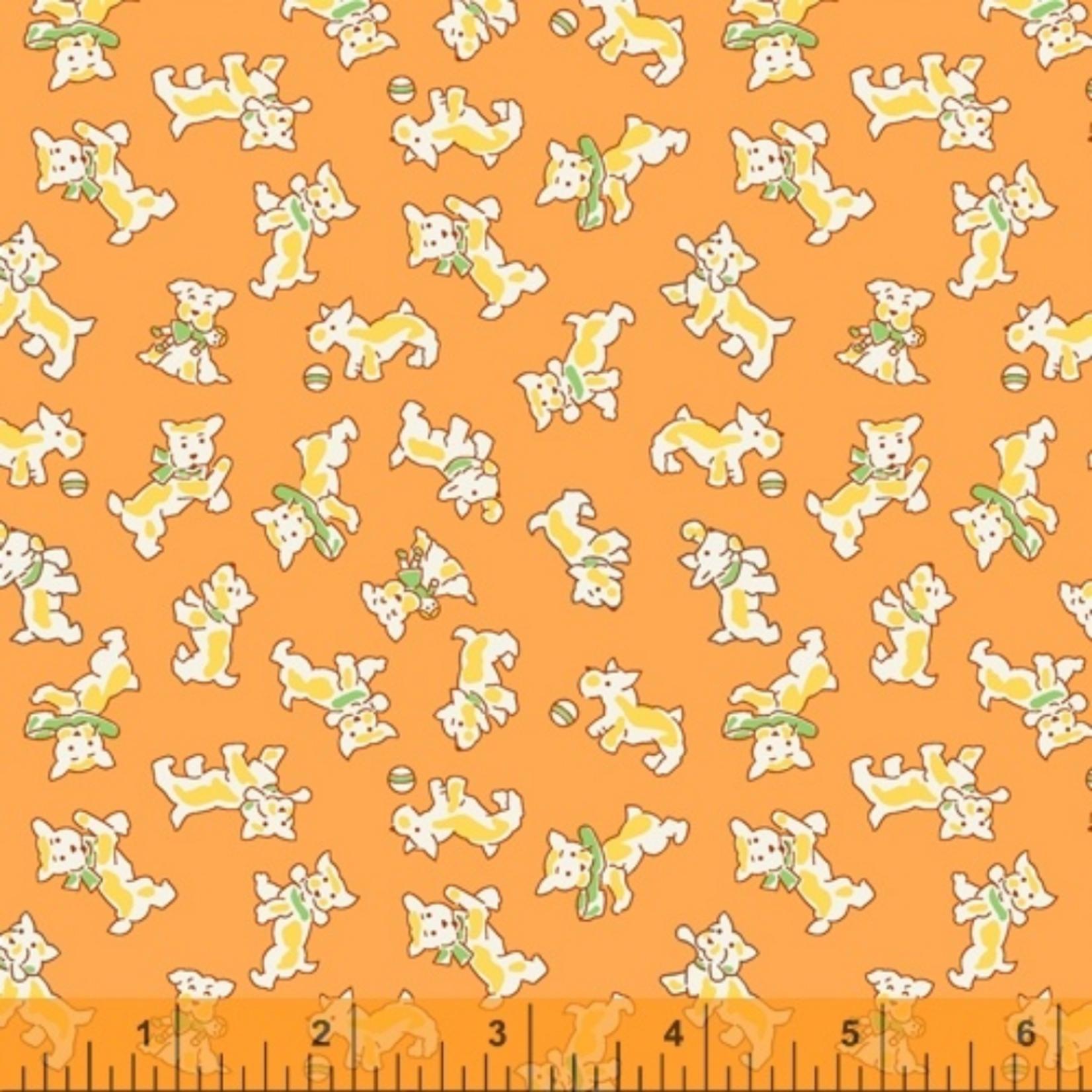 Windham Fabrics STORYBOOK, PUPPIES, ORANGE (51980-7) PER CM OR $20/M