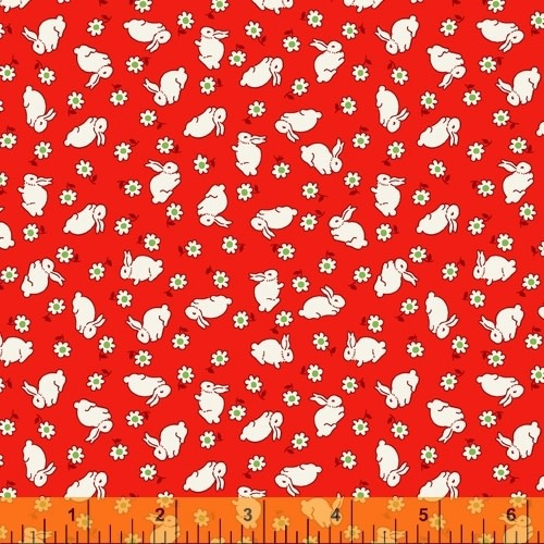 WINDHAM FABRICS STORYBOOK, BABY RABBITS,  RED (51981-1) PER CM OR $20/M
