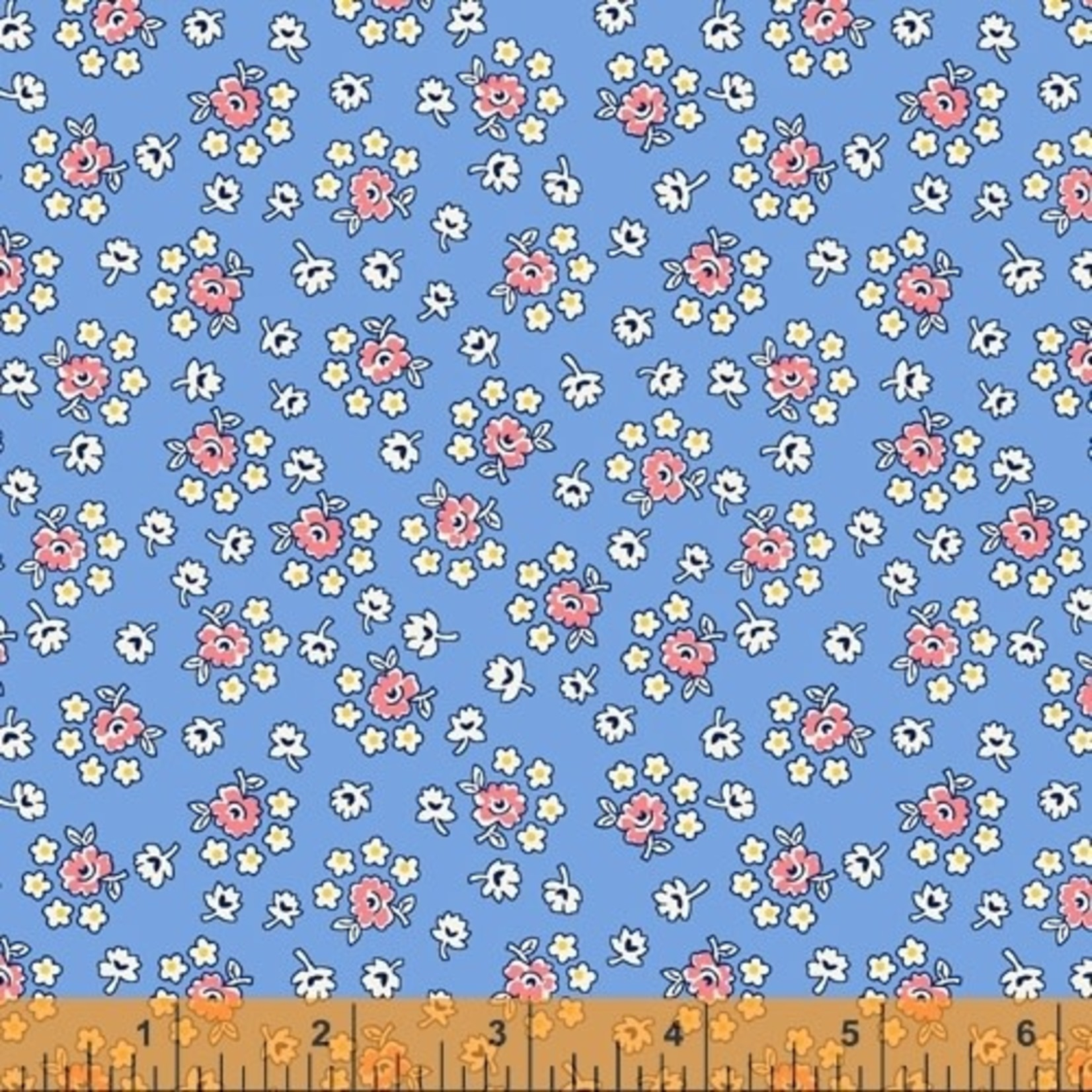 Windham Fabrics STORYBOOK, BOUQUET, BLUE (51982-2) PER CM OR $20/M