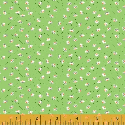 WINDHAM FABRICS STORYBOOK, BOUNCING FLOWERS, GREEN (51984-6) PER CM OR $20/M