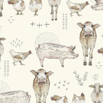 Quilting Treasures FARM LIFE, FARM ANIMAL, CREAM (27677-E) PER CM OR $20/M