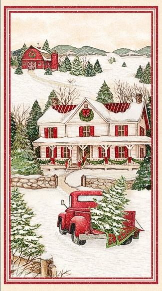 WILMINGTON PRINTS EVERGREEN FARM, RED TRUCK PANEL 24""