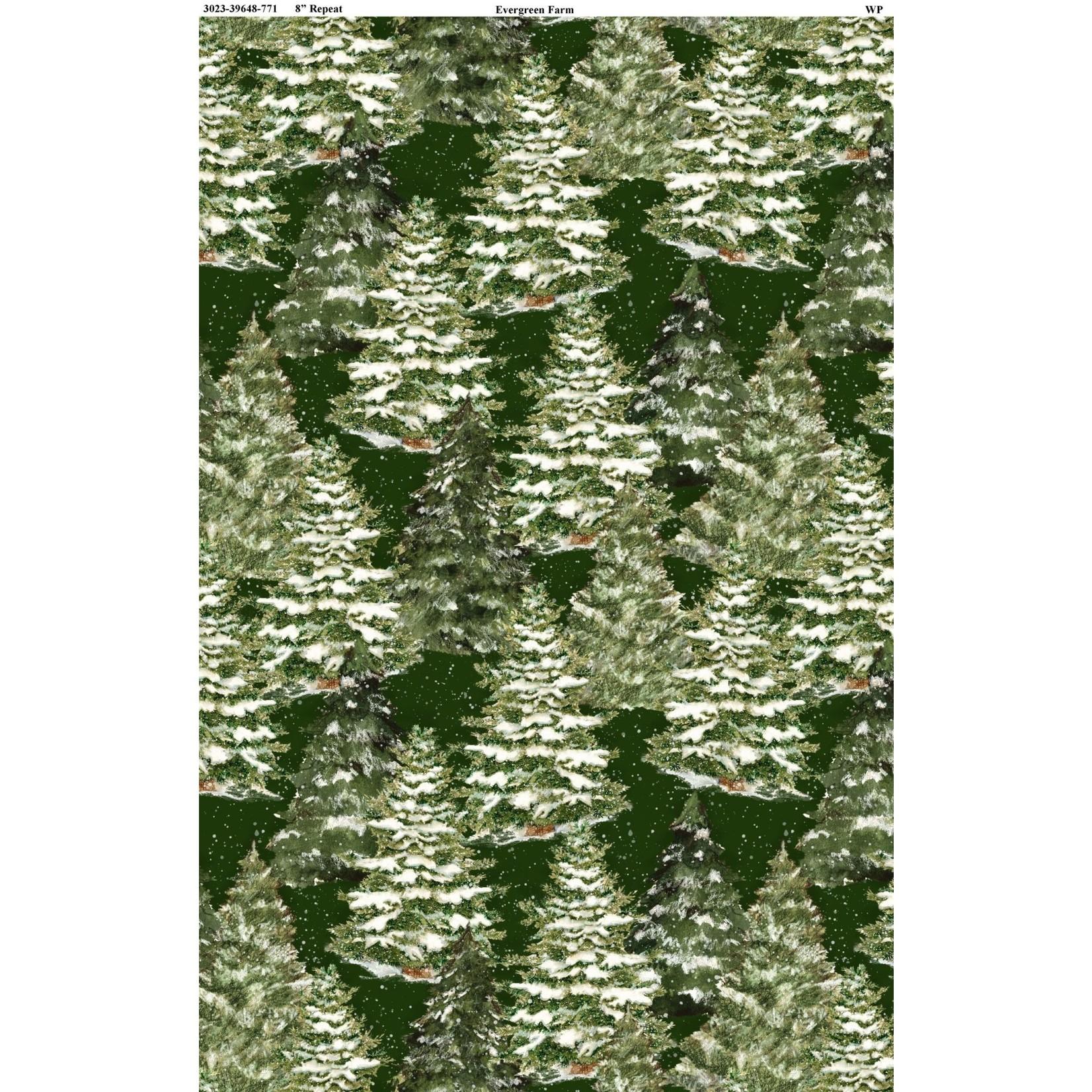 Wilmington Prints EVERGREEN FARM, TREES, GREEN (39648-771)PER CM OR $20M