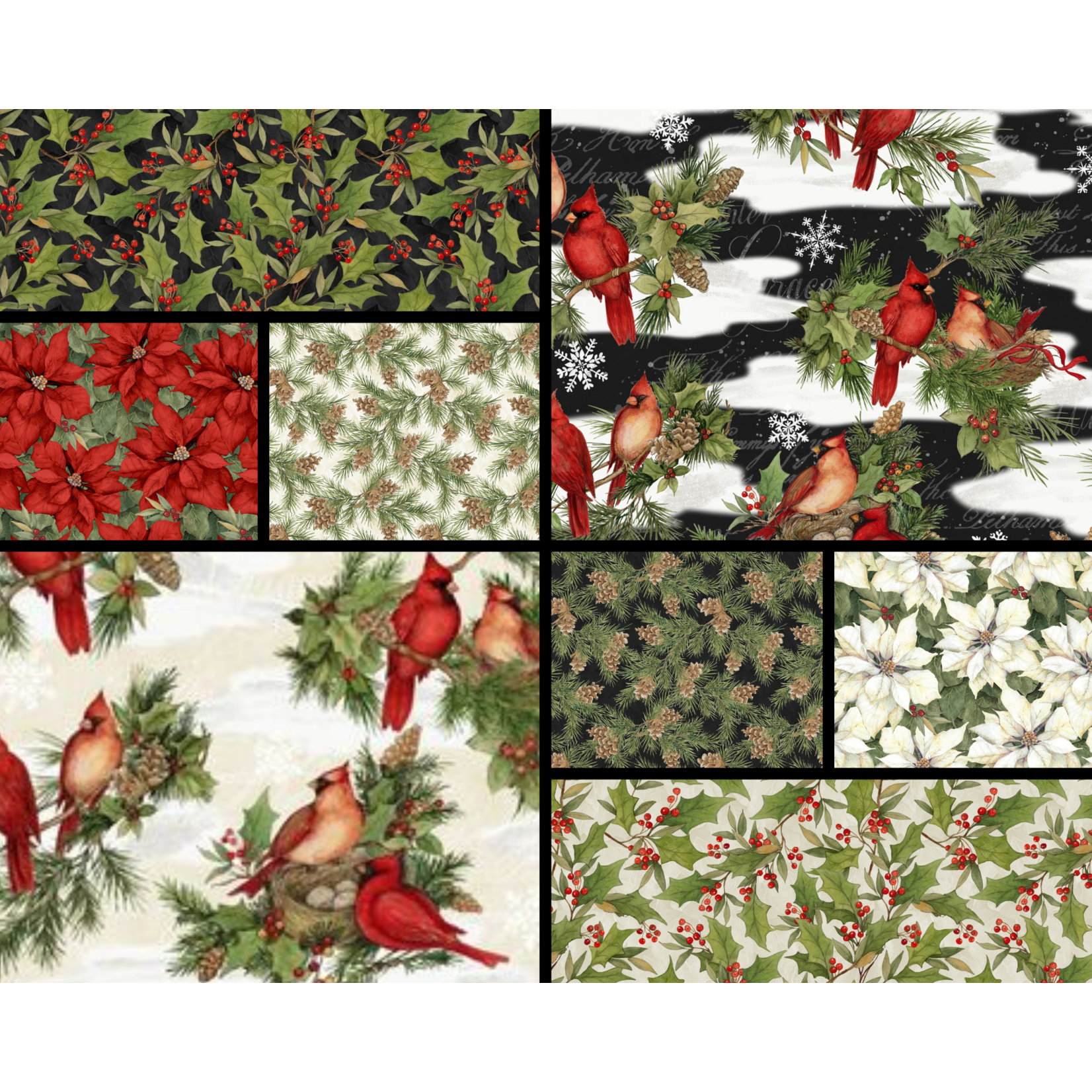 WILMINGTON PRINTS CARDINAL NOEL BUNDLE (8 pieces X 1 meter)