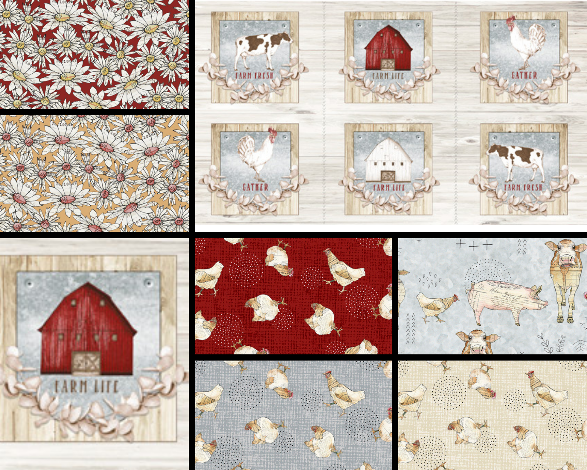 QUILTING TREASURES FARM LIFE 1/2 MTR BUNDLE - 7 PCS & 1 FARM PICTURE PANEL 24""