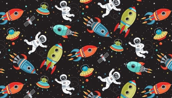 Makower UK Outer Space - Black Scene -  PER CM OR $19/M