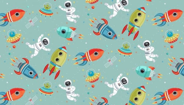 Makower UK Outer Space - Turquoise Scene -  PER CM OR $19/M