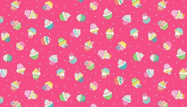 Makower UK DayDream - Cupcakes on Pink -  PER CM OR $19/M