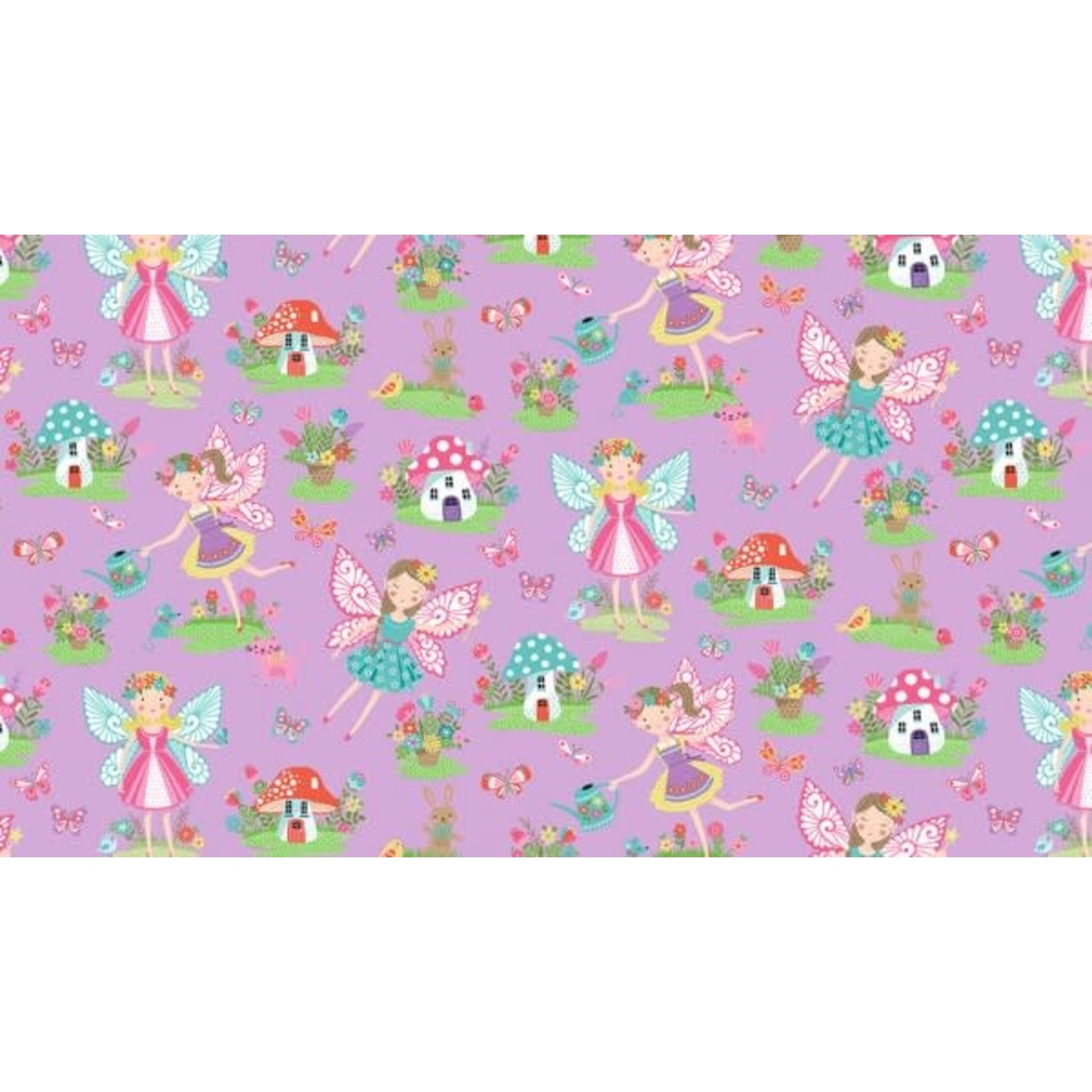 Makower UK DayDream - Fairies on Lilac -  PER CM OR $19/M