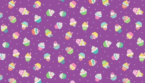 Makower UK DayDream - Cupcakes on Lilac -  PER CM OR $19/M