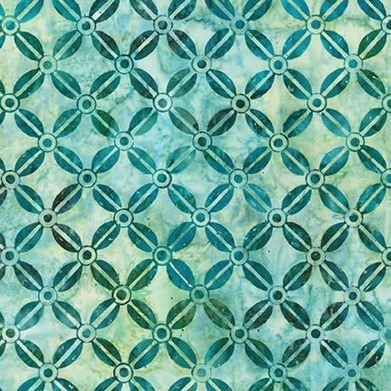 ROBERT KAUFMAN LUNN STUDIOS BATIKS, MODERN TWIST - BEAN GRID - GREEN 19755-7 PER CM OR $20/M