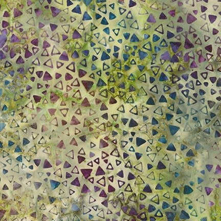 ROBERT KAUFMAN LUNN STUDIOS BATIKS, MODERN TWIST - SCATTERED TRIANGLES - GREEN 19756-7 PER CM OR $20/M