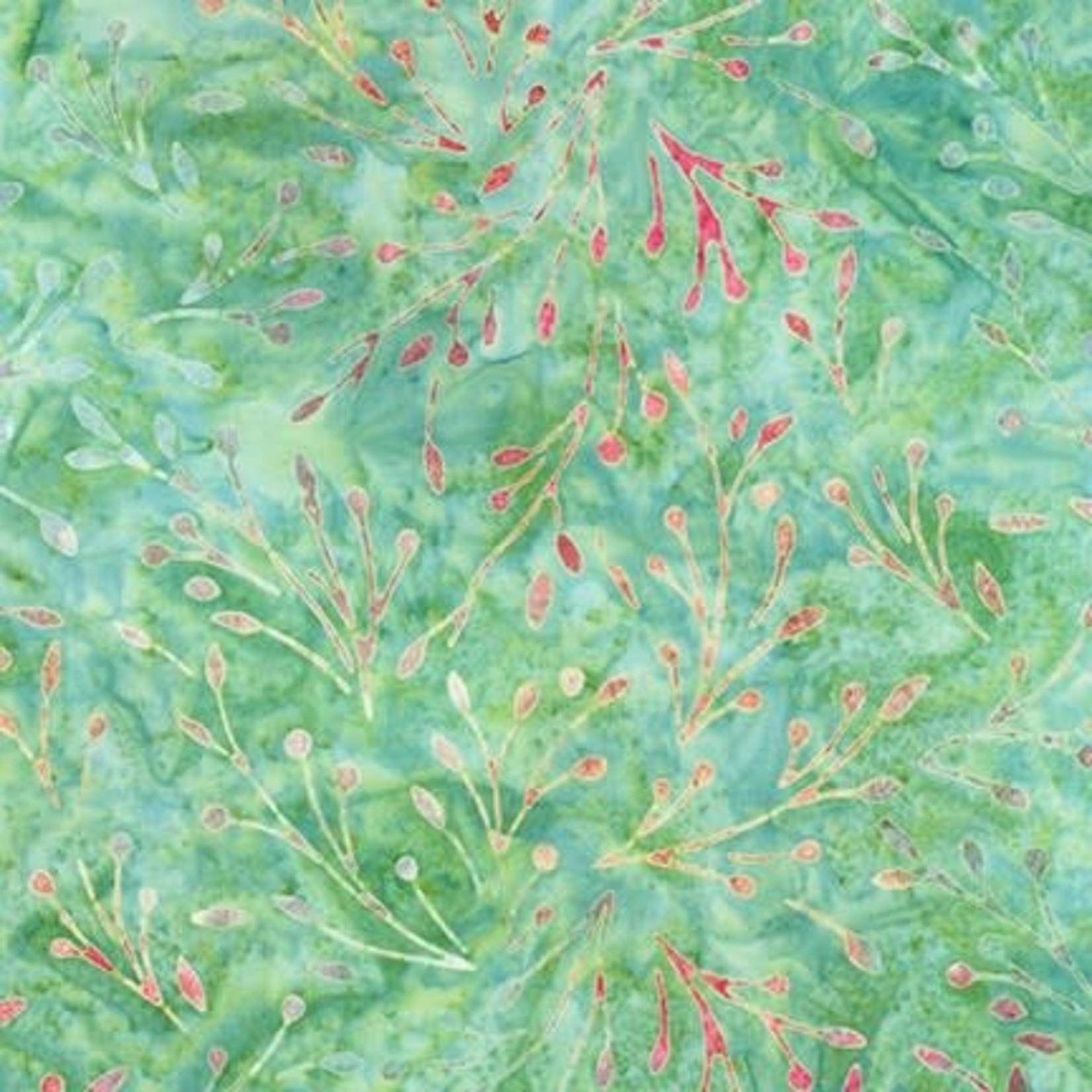 Robert Kaufman LUNN STUDIOS BATIKS, DAYBREAK - TREE SPRIGS - GREEN 19889-7 PER CM OR $20/M