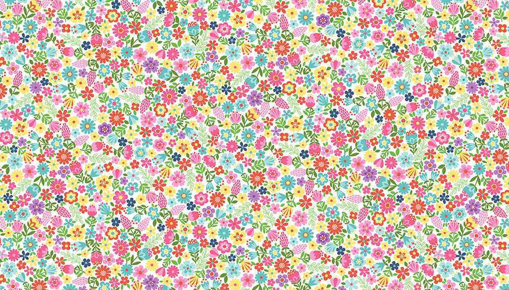 Makower UK DayDream - Floral - White -  PER CM OR $19/M