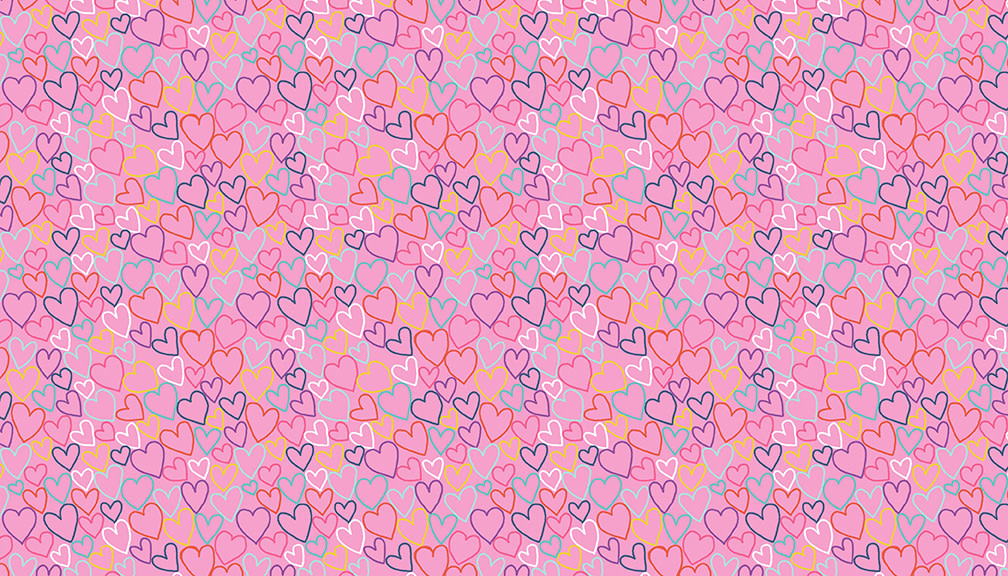 Makower UK DayDream - Hearts on Pink -  PER CM OR $19/M