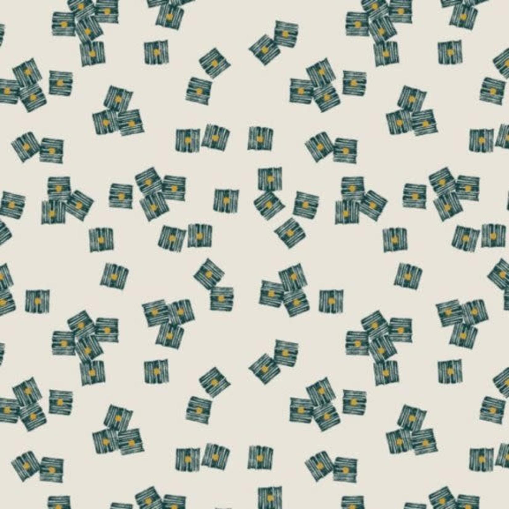 Dashwood Midnight Garden, Cubes on White LINEN/COTTON