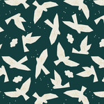 Dashwood Midnight Garden, Doves on Blue LINEN/COTTON