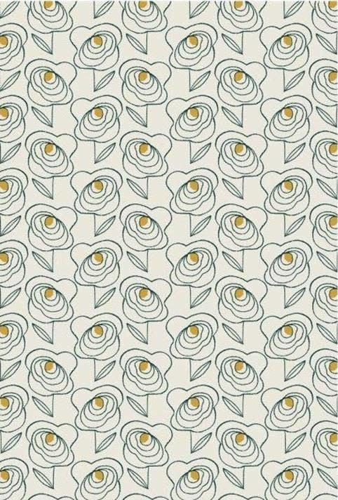 DASHWOOD Midnight Garden, Roses on White LINEN/COTTON