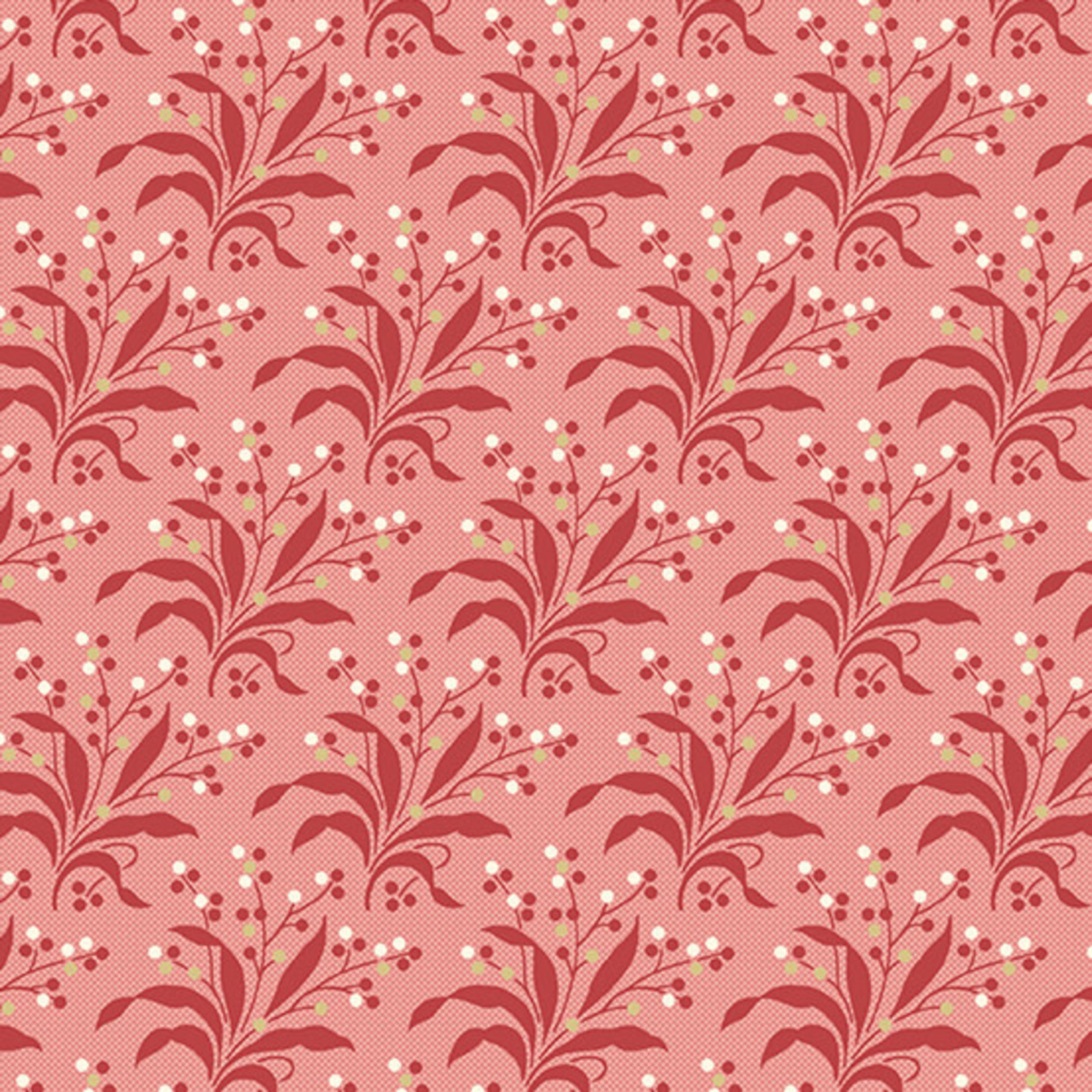 LAUNDRY BASKET QUILTS SWEET 16, FERN, RED (A-9580-R) PER CM or $20/m