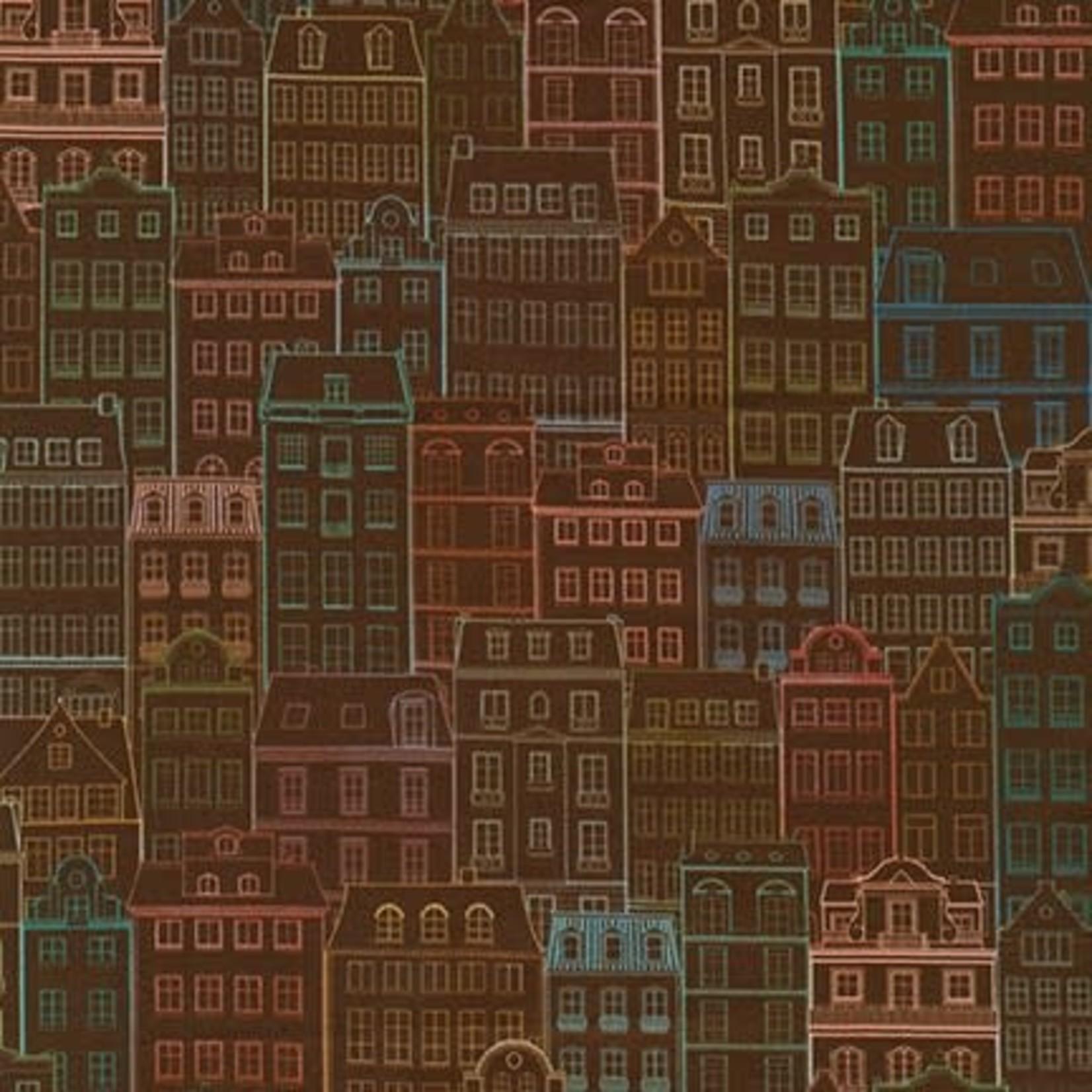 Robert Kaufman HAPPY PLACE, BUILDINGS, TERRACOTTA $0.20/CM OR $20/M