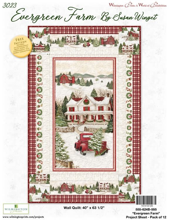 WILMINGTON PRINTS EVERGREEN FARM KIT - BINDING INCLUDED - BACKING NOT INCLUDED