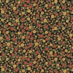 ROBERT KAUFMAN 440cm FLORENTINE GARDEN, PETITE FLOWER, BLACK $20/M