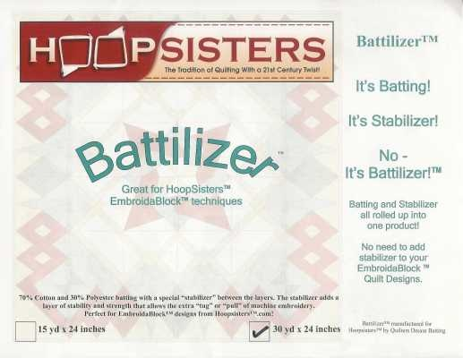 "HOOP SISTERS BATTILIZER 30, 24"" WIDE WHITE PER CM OR $9/M"