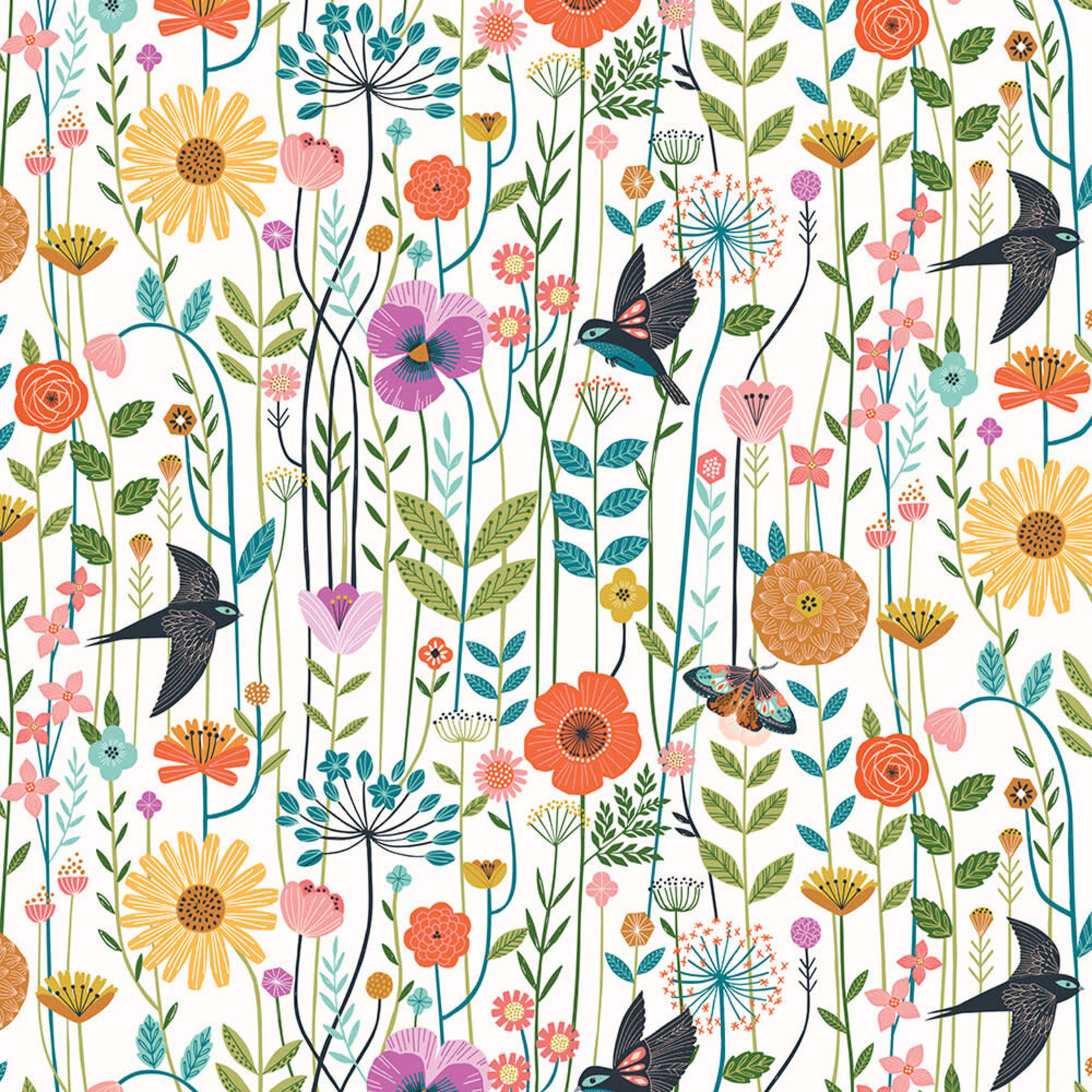 DASHWOOD Aviary, Floral Lines on White (1722), per cm or $20/m