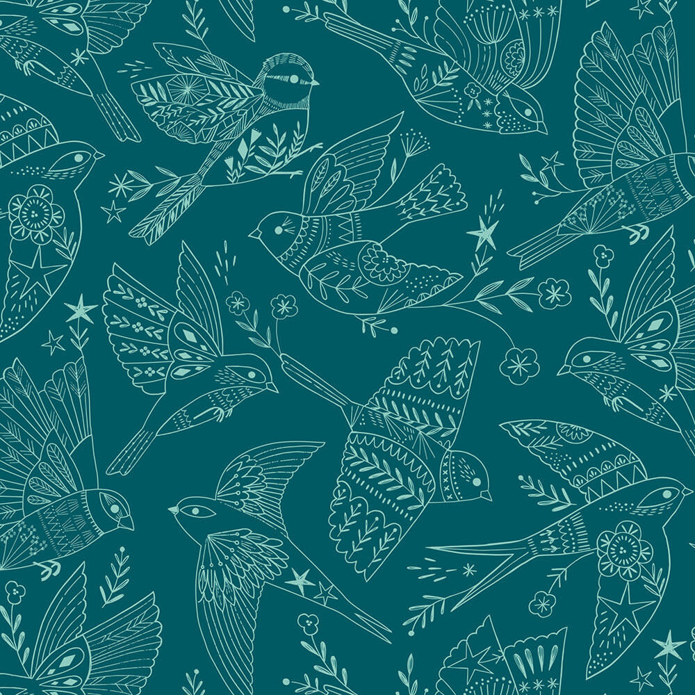 DASHWOOD Aviary, Line Drawing Birds on Teal (1724), per cm or $20/m