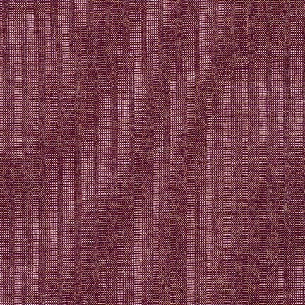 ROBERT KAUFMAN ESSEX YARN DYED METALLIC, BURGUNDY (LINEN/COTTON) PER CM OR $22 PER M