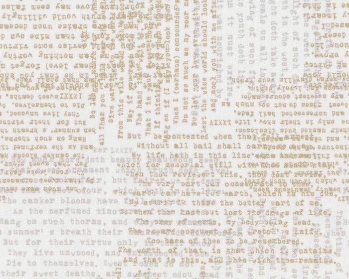 MODA MODERN, Metallic words on cream PER CM OR $20/M