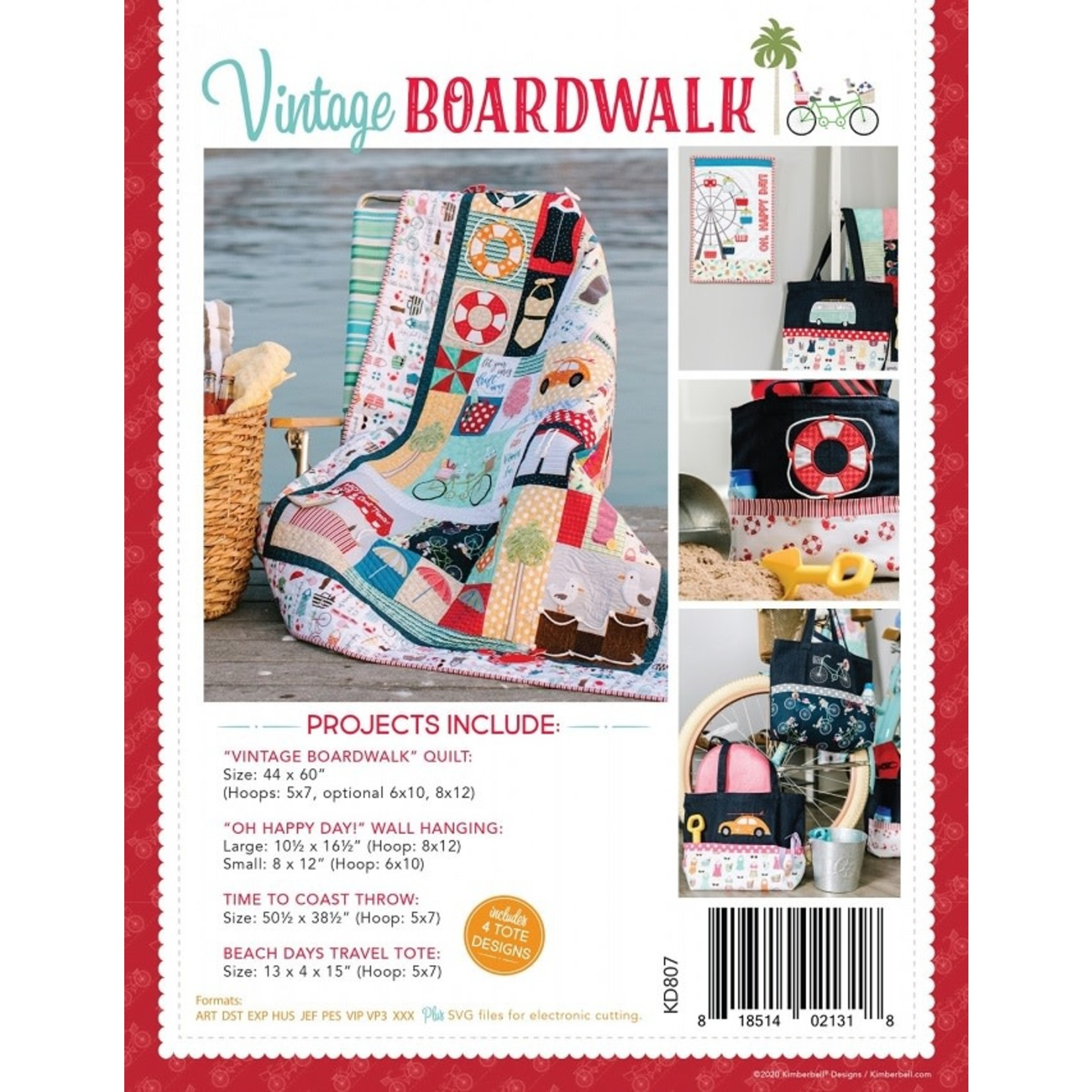 KIMBERBELL DESIGNS Vintage Boardwalk Book & Machine Embroidery CD